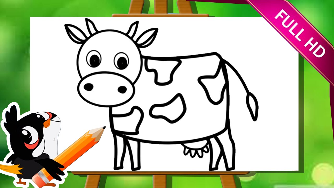 Learn How To Draw A Cow How To Draw Animals Easy Step By Step Drawing Tutorial For Kids