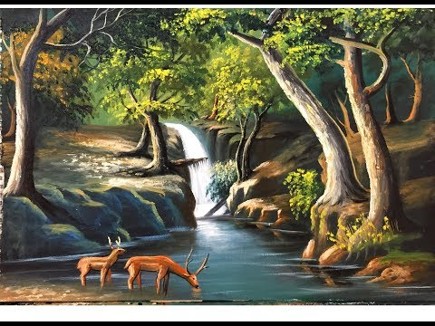 Down the river with forest | Oil Painting Landscape By Samut CTC Art