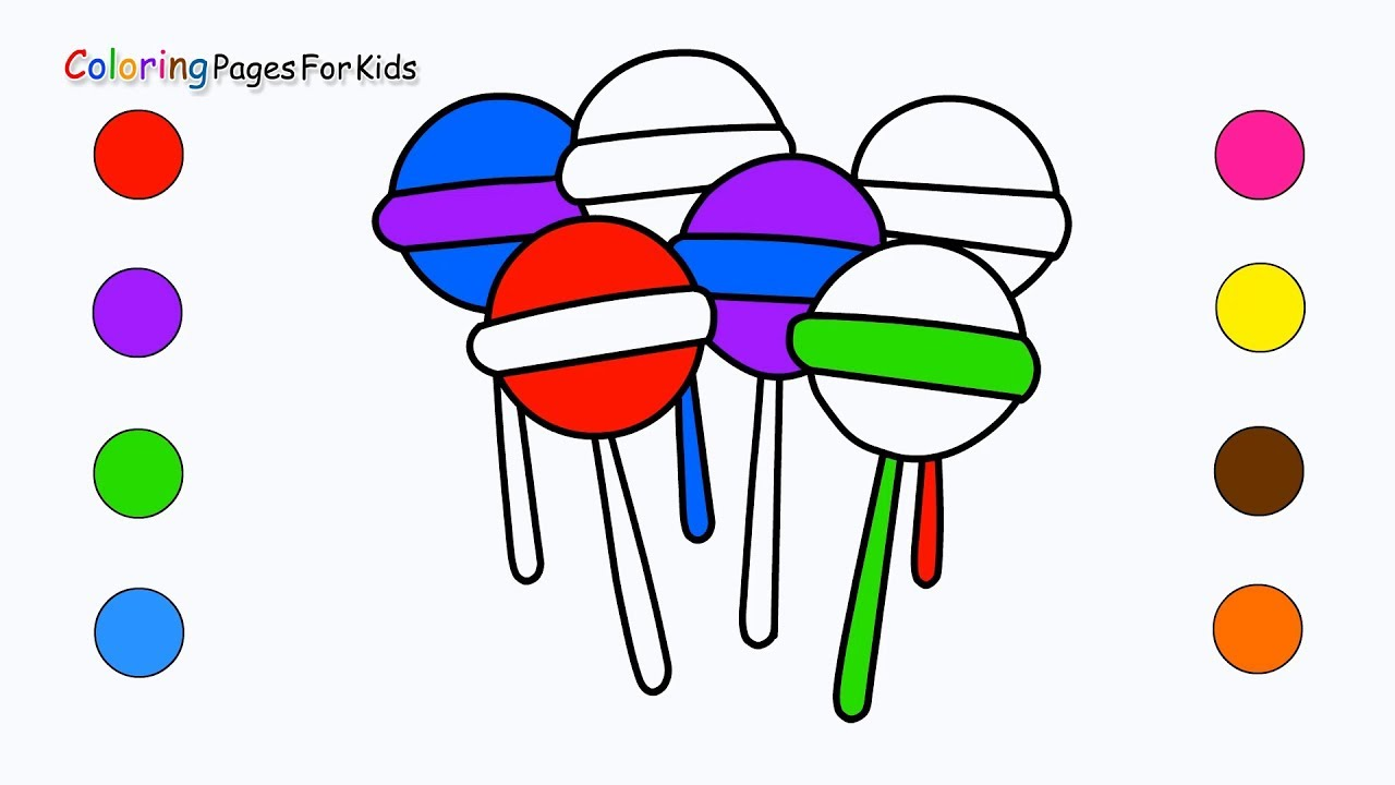 how to draw lollipop candies coloring pages for kids children