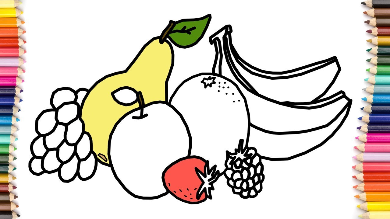 how to draw fruits orange banana grapes apple coloring pages