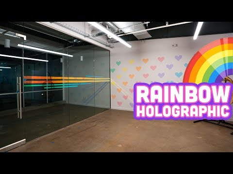 RAINBOW HOLOGRAPHIC DECORATION at the NEW OFFICE! D.I.Y.