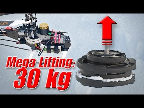 RC helicopter weight lifting record 30kg/66 lbs - record heavy lifter