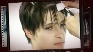 Короткая женская стрижка на прямые жесткие волосы с филировкой бритвой