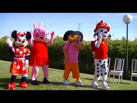patrulla canina,dora,Peppa pig y minie  - juegan al juego de las sillas