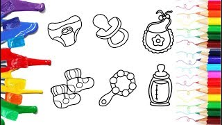 how to draw and coloring baby items clothes, pacifier and acc for baby and kids | coloring pages