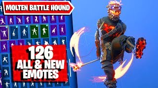Molten Battle Hound Fortnite (Lava Legends Pack) combos 126 Emotes (Fire Spinner, Fanciful)