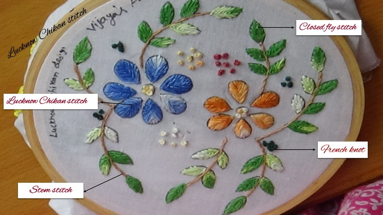 Embroidery Designs - Lucknow Chikan stitch - YouTube
