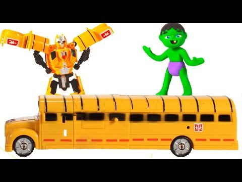 BABY HULK PLAYS WITH TRANSFORMERS ❤ Spiderman, Hulk & Frozen Play Doh Cartoons For Kids