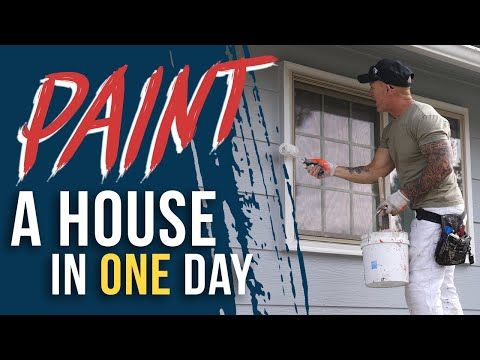 HOW TO PAINT A HOUSE FAST.  Sped Up Look At Painting A House In A Day.  DIY House Painting.