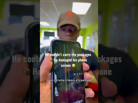 He couldn't carry the heavy packages,Cracked his #iphone 😱 #apple #iphone13 #ios #android #samsu