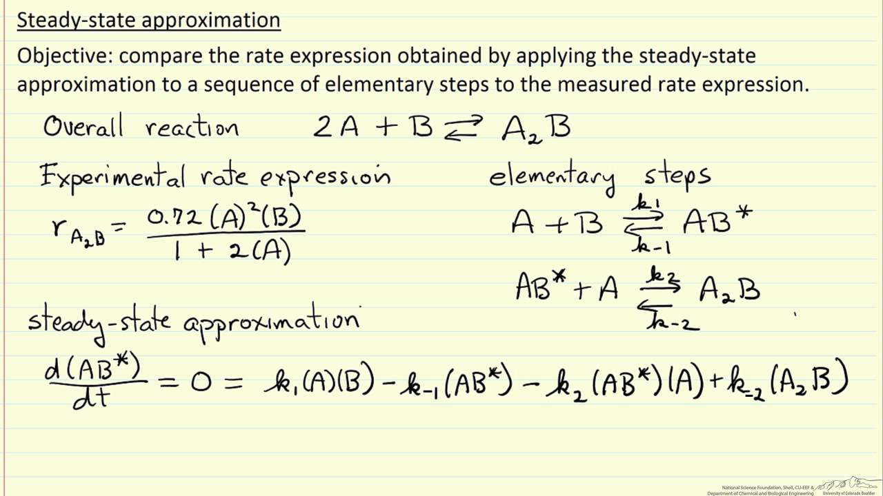 steady state approximation in chemical kinetics pdf