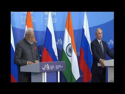 PM Modi & Russian President Vladimir Putin at a joint press meet