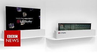 CES 2018: LG Display shows off large rollable TV screen- BBC News