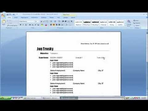 MS word 2007 - YouTube - how to create a resume on word