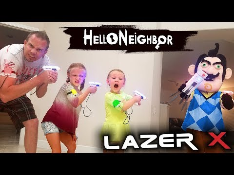 Hello Neighbor in Real Life! Us vs Hello Neighbor in Laser Tag Toys Battle!! We Kick Him Out! thumbnail
