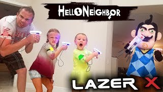 Hello Neighbor in Real Life! Us vs Hello Neighbor in Laser Tag Toys Battle!! We Kick Him Out!