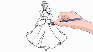 How to Draw Cinderella Easy Step by Step(Easy step by step tutorial on how to draw Cinderella, pause the video at every step to follow the steps carefully. Enjoy ;) - Facebook: ..., 2016-06-30T12:16:37.000Z)