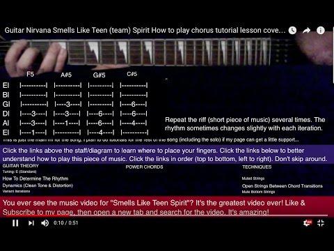Guitar Nirvana Smells Like Teen (team) Spirit How to play chorus tutorial lesson cover beginners