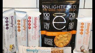 Enlightened Broad Beans & Simplyprotein: Coconut, Fruit & Nut, Chocolate Caramel, Raspberry, Lemon