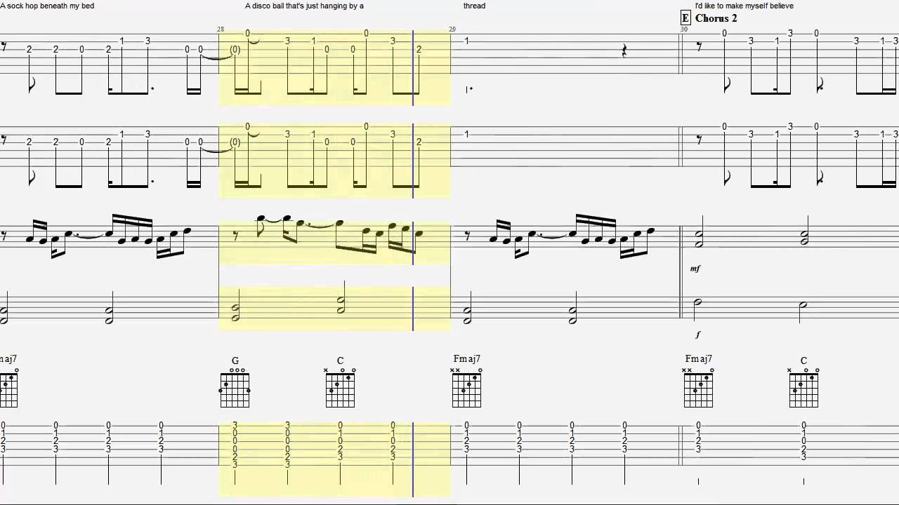 Guitar Tab - Guitar Chords - Keyboard - Owl City - Fireflies
