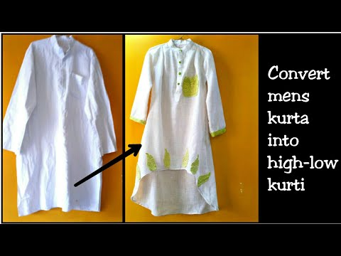 DIY:Convert Mens Old Kurta Into High Low Dress for girls~