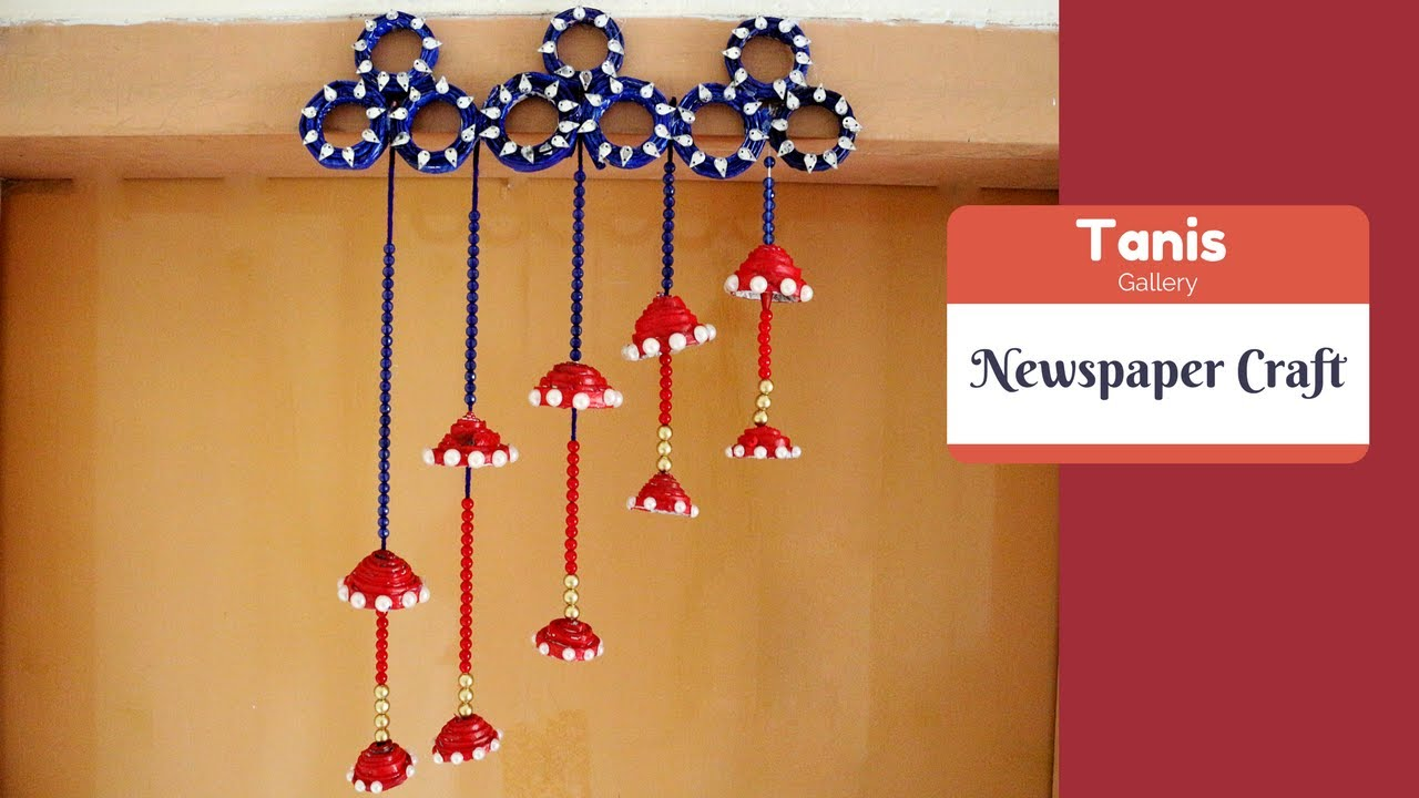 Wall hanging newspaper craft ideas | how to make wall hanging with ...