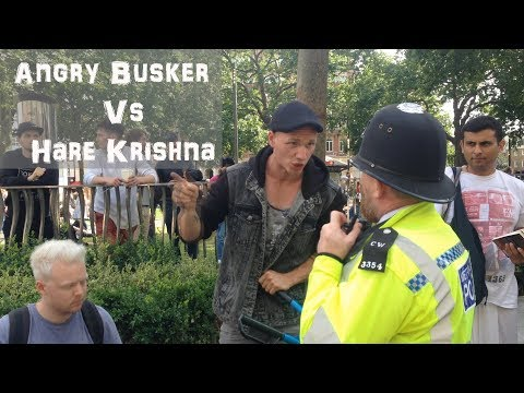 MORF MUSIC LONDON LEICETER SQ BUSKER Vs ANGRY COP AND HARE KRISHNA'S