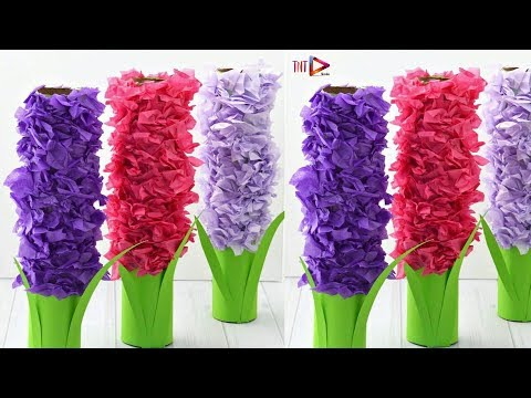 DIY Paper Hyacinth Flower Craft For Kids | Making Paper Flowers For Home Decor