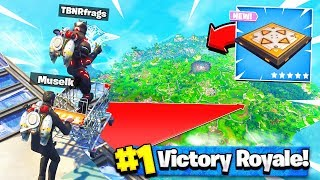 NEW BOUNCER PAD + SHOPPING CART at *MAX* HEIGHT! Fortnite: Battle Royale with Muselk thumbnail