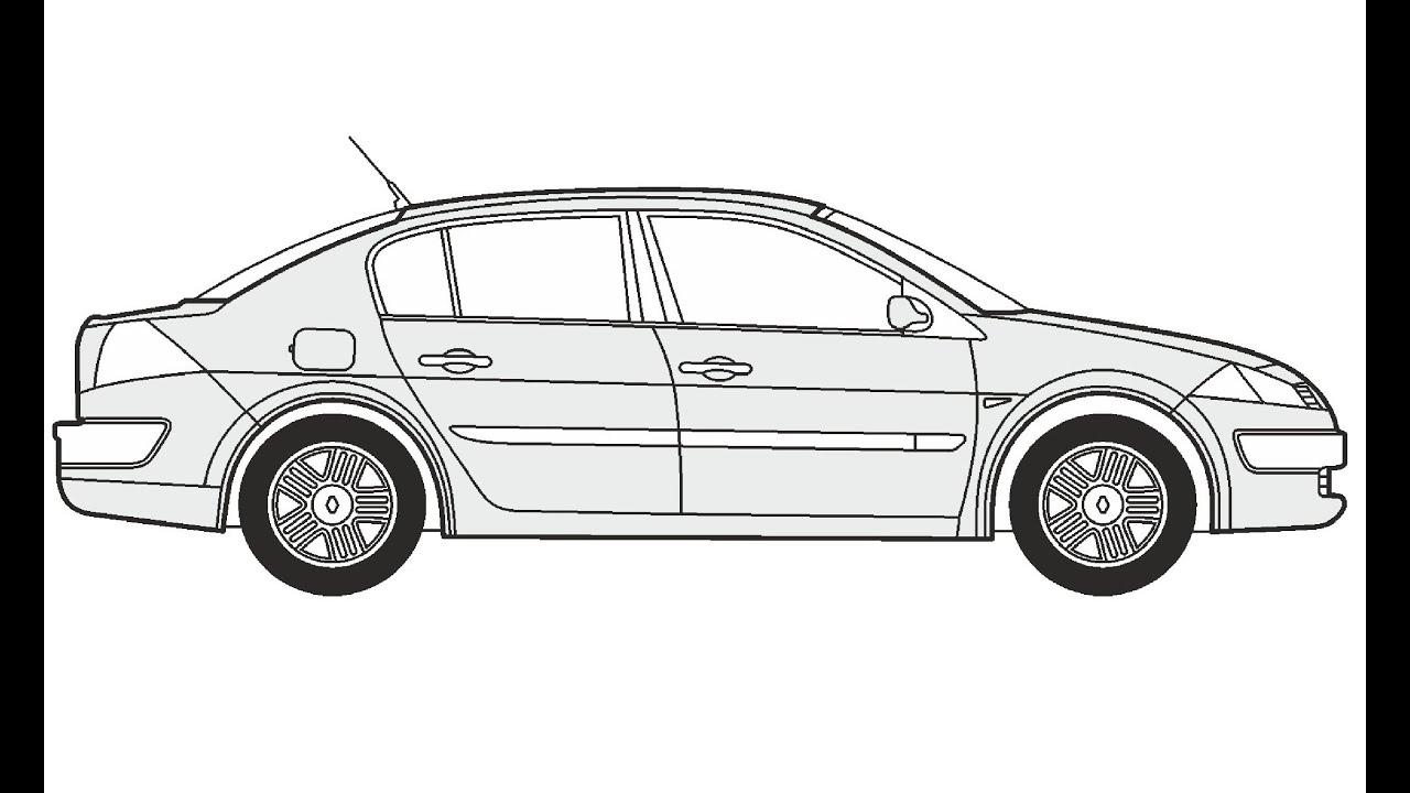 How to Draw a Renault Megane Limousine / Как нарисовать