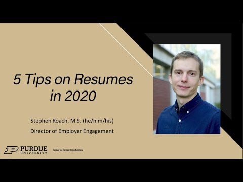 5 tips for resumes in 2020 Purdue CCO