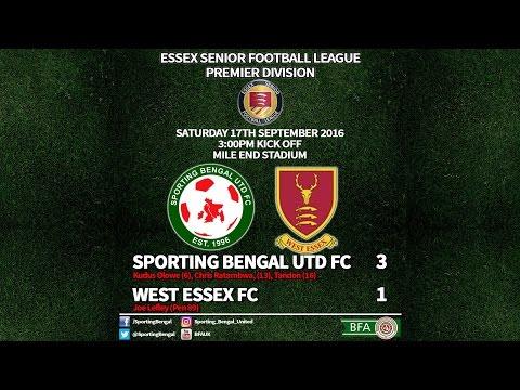 Sporting Bengal Utd FC 3 West Essex 1 - Essex Senior League Premier 2016-17