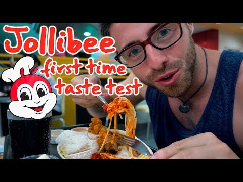 JOLLIBEE FIRST TIME TASTE TEST IN MANILA || TRAVEL PHILIPPINES