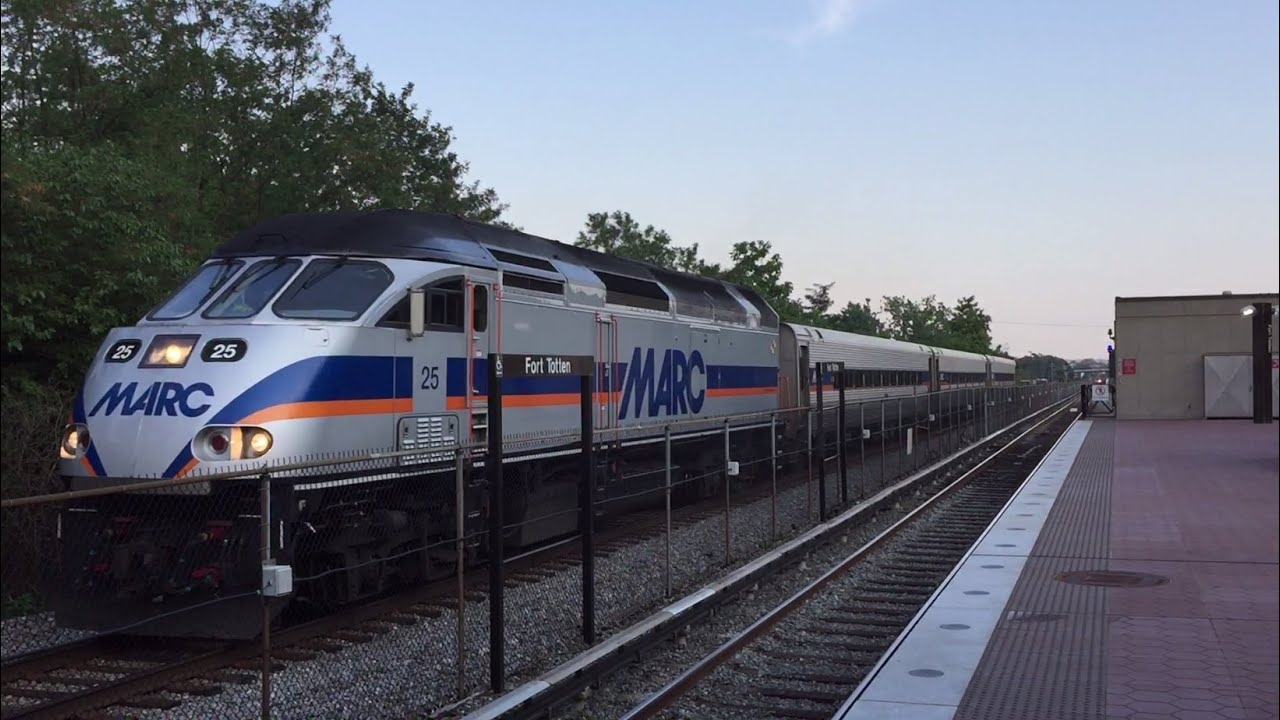 marc hd 60fps: brunswick line train passes wmata fort totten station