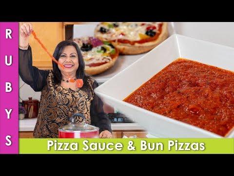 Pizza Sauce Recipe Aur Bun Pizzas In Urdu Hindi - RKK