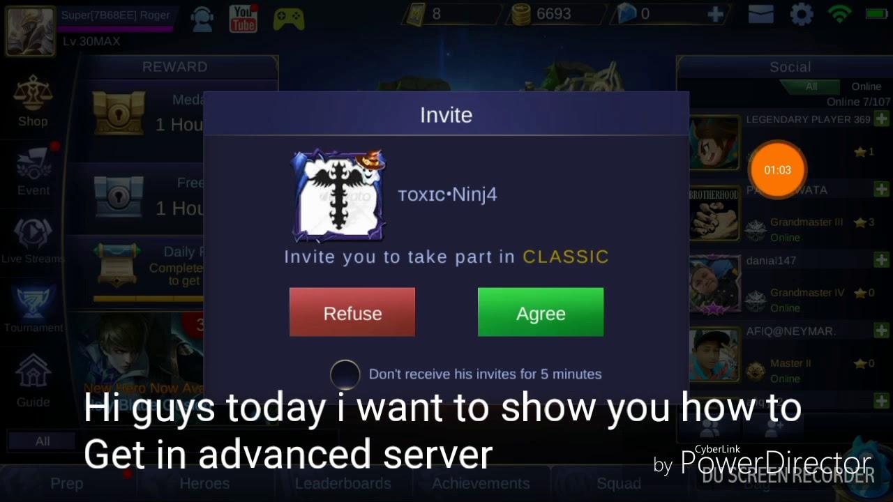 how to get into advanced server mobile legend 2018