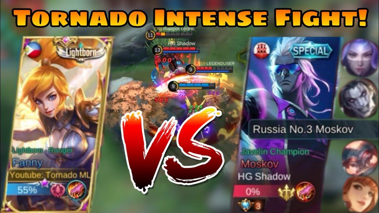 MY FANNY VS TOP 3 MOSCOV (RUSSIA) || Tornado ML  || INTENSE FIGHT || MLBB