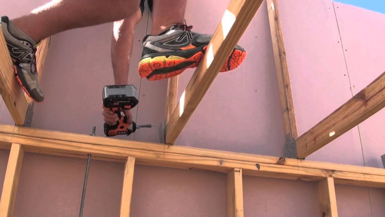 Roof Truss Erection Amp Tie Down Demonstration For Skillion