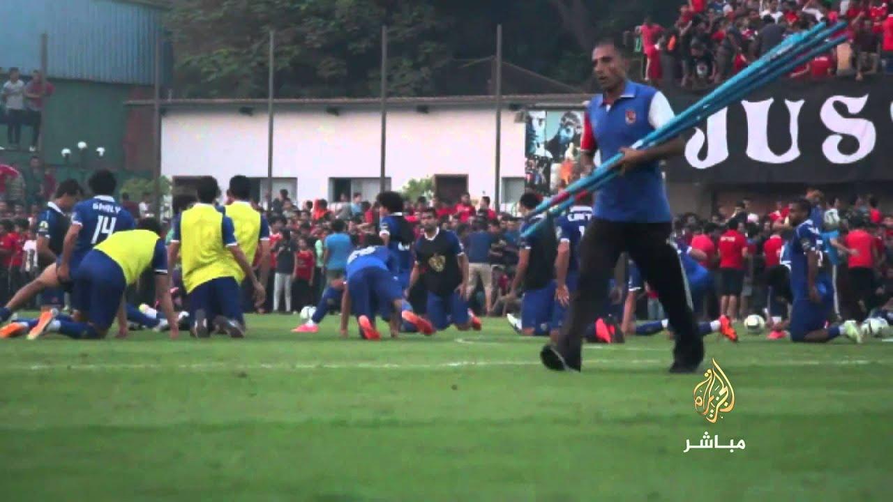 جماهير النادي الأهلي تحتفل با التتش في أول مران عقب الفوز بالسوبر