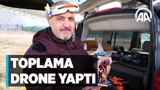 Aksaraylı ayakkabıcı toplama drone yaptı