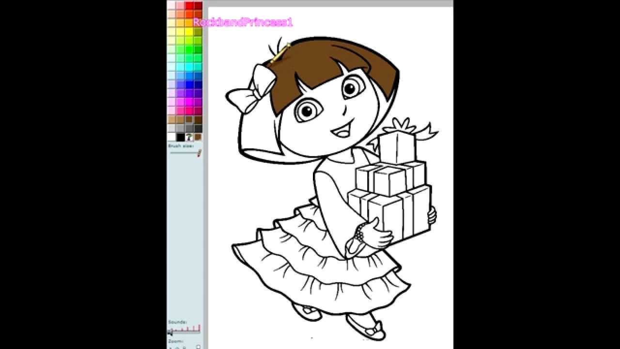Dora Painting Games Dora Christmas Coloring Pages  YouTube