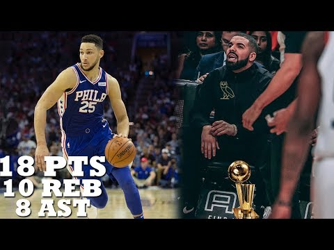 Drake IMPRESSED with Ben Simmons Near TRIPLE DOUBLE!! Raptors vs 76ers!