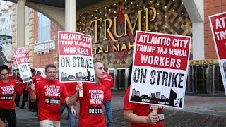 Trump Taj Mahal workers strike in Atlantic City