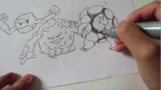 How to draw Pokemon: No.74 Geodude, No.75 Graveler, No.76 Golem