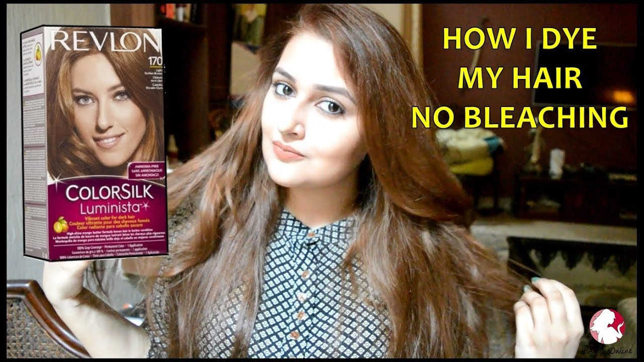 How I Dye My Hair At Home Dark To Light Brown Revlon Colorsilk Youtube