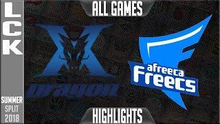 Kz vs afs highlights all games | lck summer 2018 week 2 day 3 | king-zone dragonx vs afreeca freecs