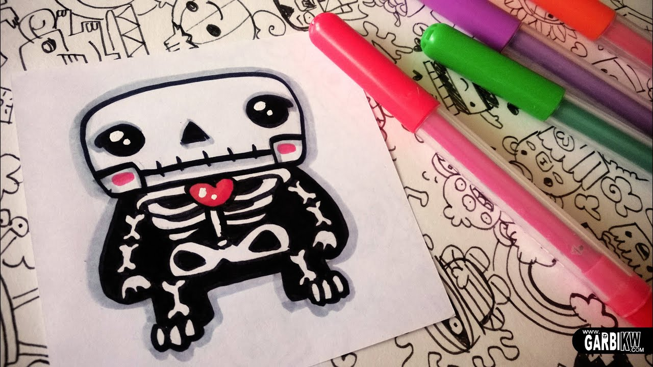 Halloween Drawings - How To Draw Cute Skeleton by Garbi KW ...