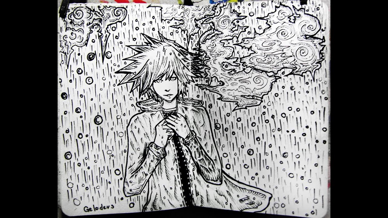 Realistic Rain Cloud Drawing