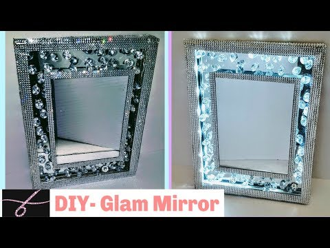 DIY Glam Mirror with Lights - 💎 So Glam -  Made with Dollar Tree Materials - DIY wall decor