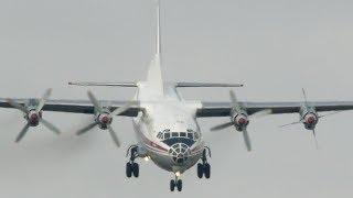 Antonov An-12 landing with engine shut down